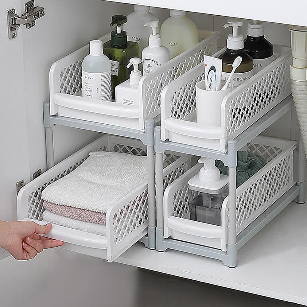 [스윗브릿지] 틈새정리 슬라이딩 주방 선반 욕실 다용도 수납 2단 정리대 2size, 슬림