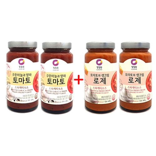 2+2 [조이스몰] 청정원 [쉐프추천] 로제스파게티소스600g +토마토소스600g, 1세트