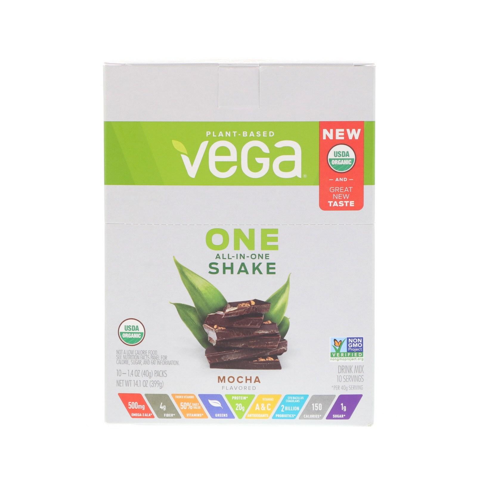 베가 One 올 인 원 셰이크 모카 10 패킷 각 40g 식물성 단백질, 1개, -