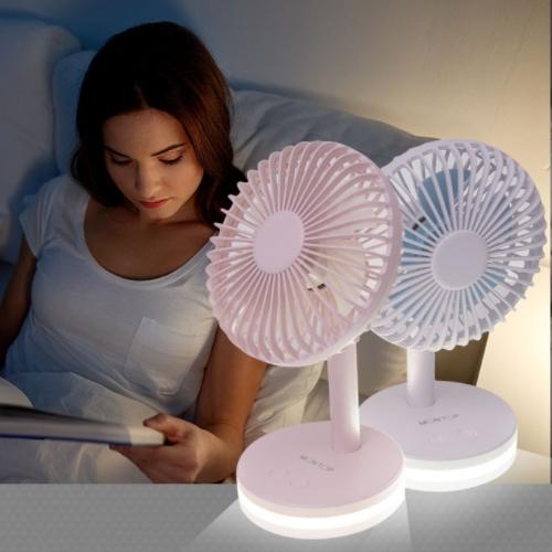 몬탑 LED 무드등 탁상용 5엽날개 무선 미니 선풍기, 1+1 웜화이트+웜화이트