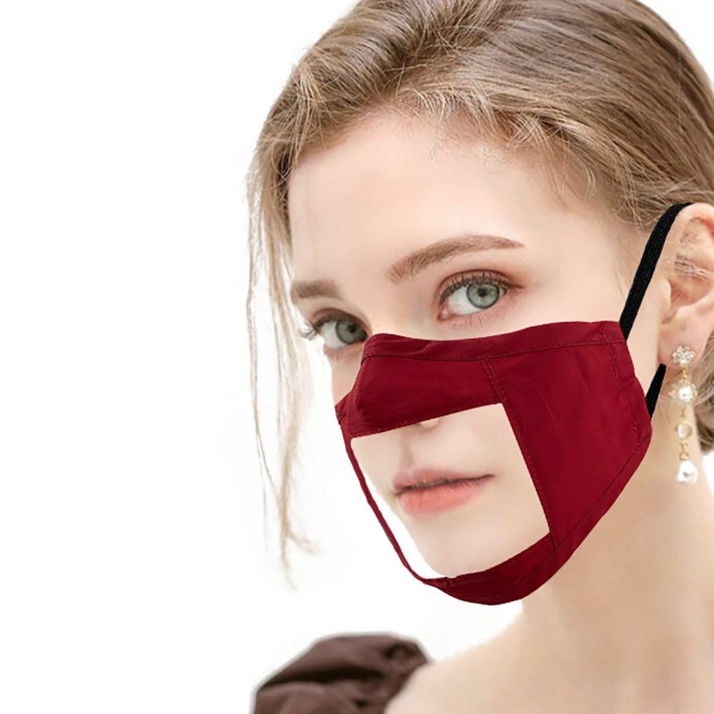 립리딩 립뷰 청각 장애인 입모양 투명 마스크 레드, 1개