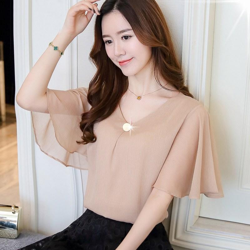 레이스블라우스 2020년정품 여름시즌 루즈핏 날씬해보이는 배가리는 작은셔츠 짧은소매 여성패션 빅사이즈뚱뚱한 MM코디하기쉬운 쉬폰 상의
