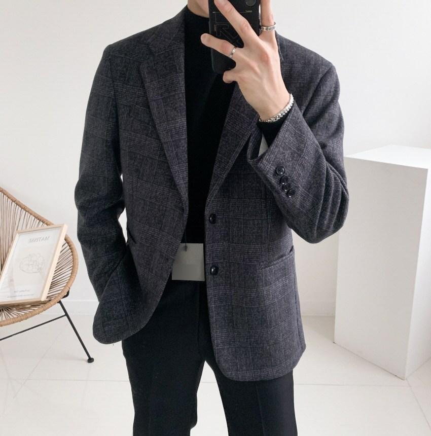 남자 겨울 체크 울 캐시미어 스판 블레이저 싱글 자켓(3color)