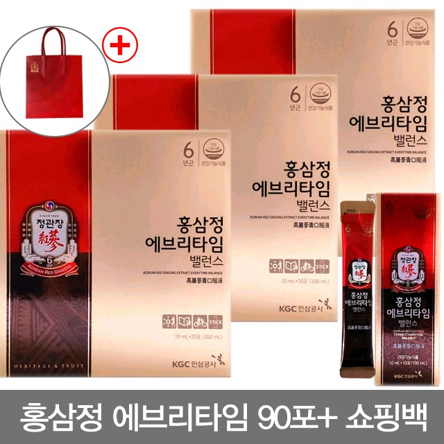 정관장 홍삼정 에브리타임 밸런스 90포(3박스), 10ml, 90포
