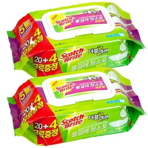 3M 스카치브라이트 더블액션 물걸레 청소포 표준형 일반형 리필 20매+4매 증정, 2개입