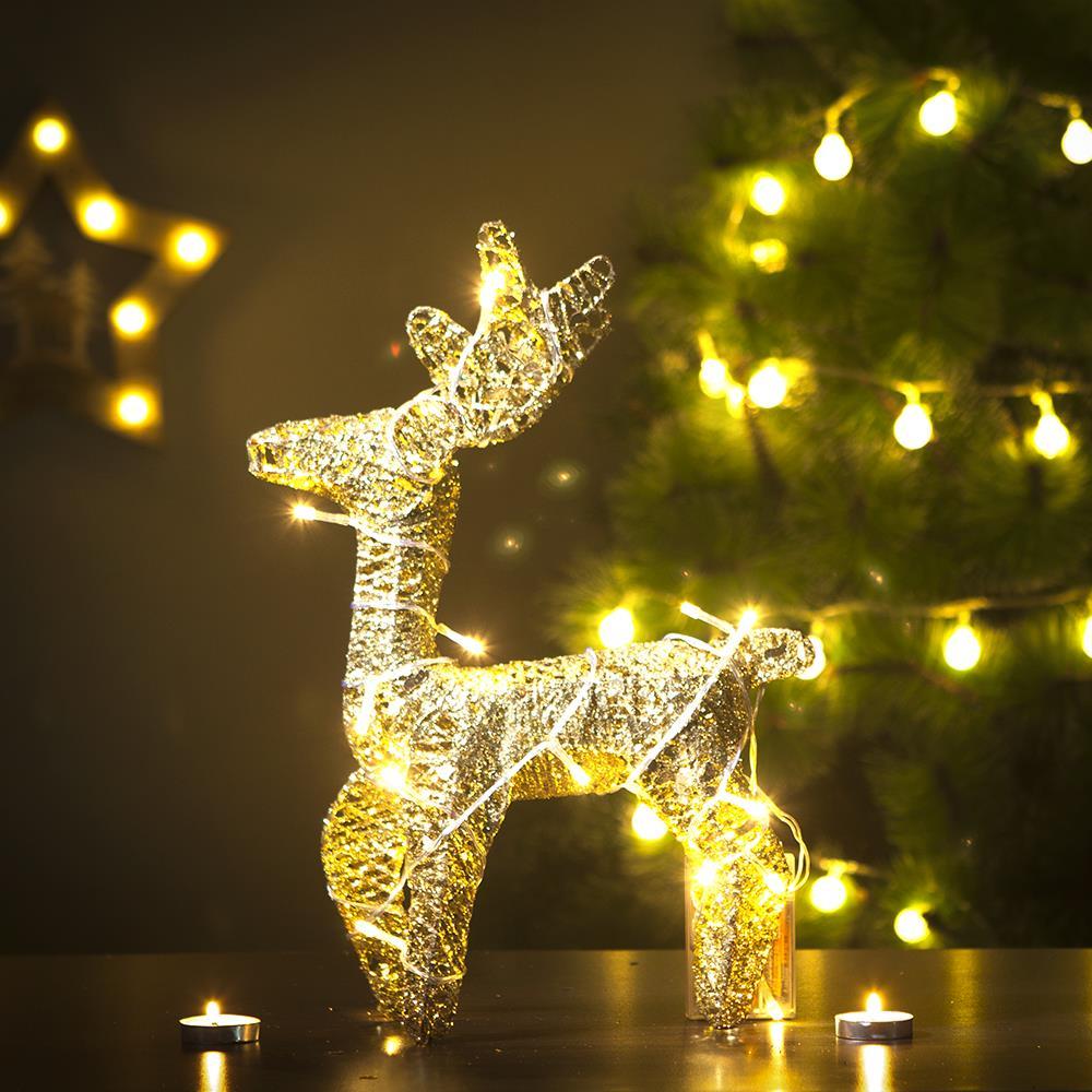 가정용 크리스마스 파티 장식 사슴 35cm LED조형물 트리 루돌프