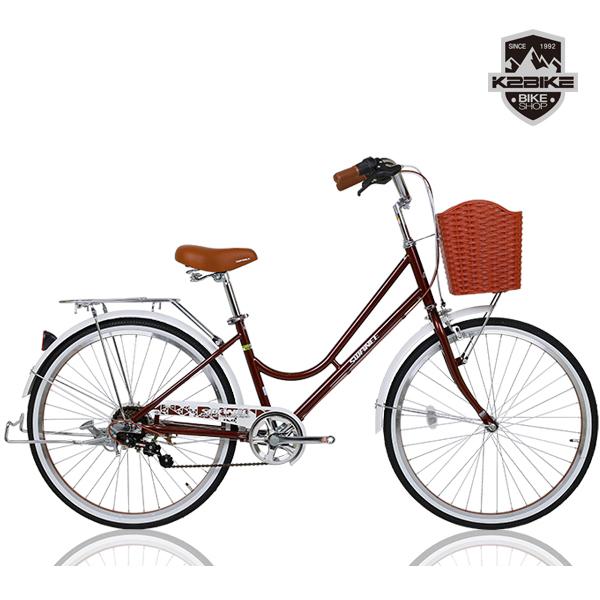 K2BIKE 2020 클래식 여성용자전거 스와니 24인치 7단 자전거, 스와니26인치 브라운 미조립+소형공구