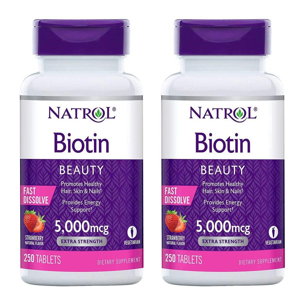 Natrol 나트롤 비오틴 5000mcg 250정 x 2통 딸기맛