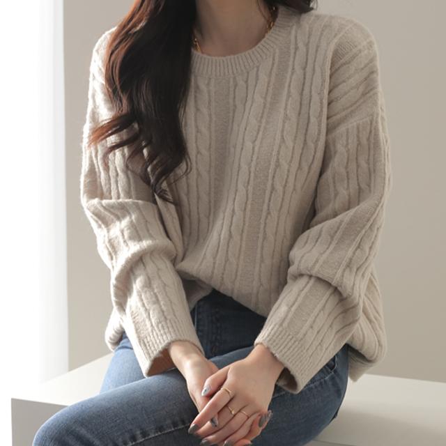제니트 여성용 루즈핏 꽈배기 니트 스웨터