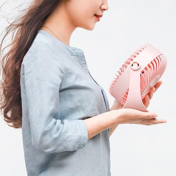 토리몰 Emotion 탁상용 미니 선풍기, 코랄핑크, 이모션