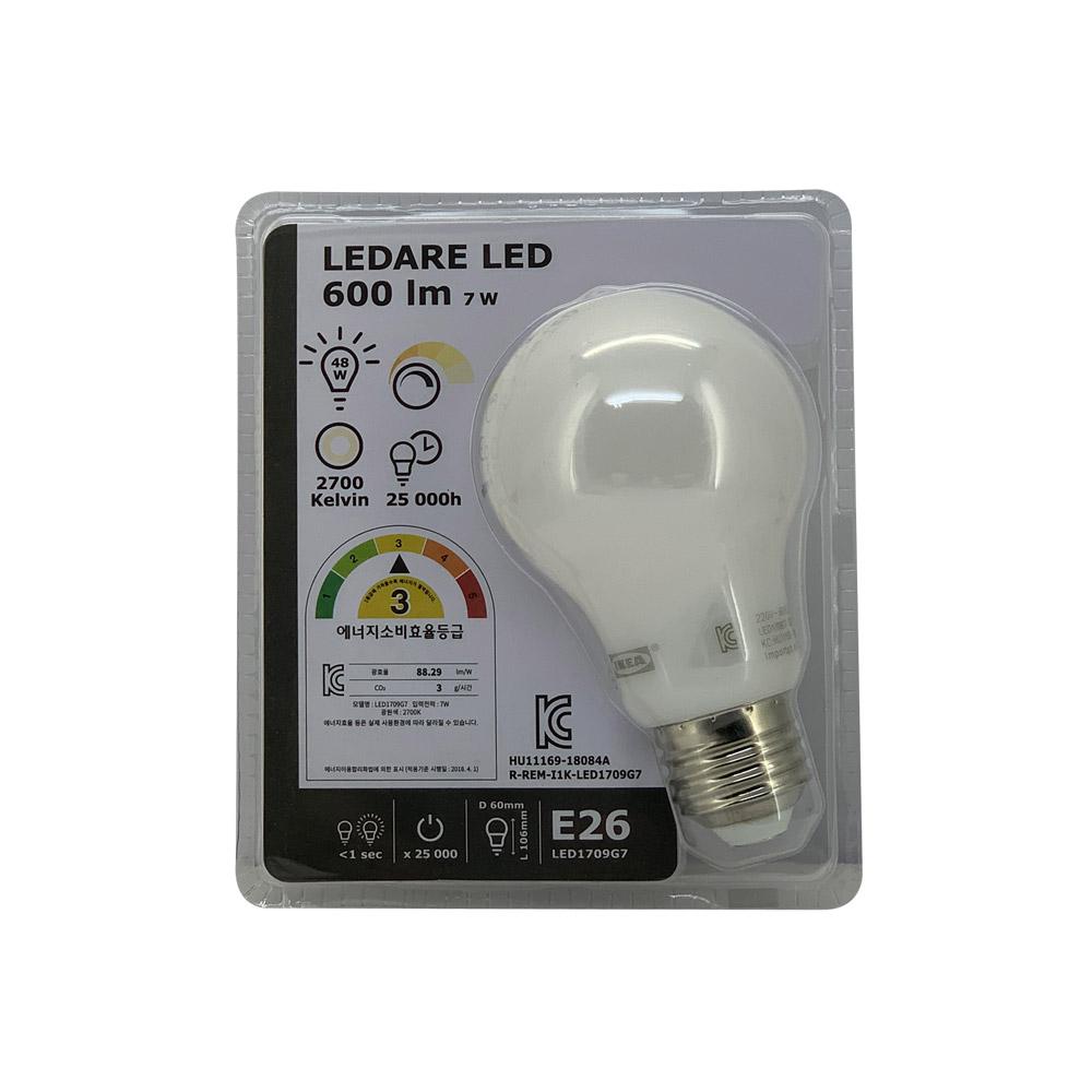 이케아 레다레 LED전구 E26 600루멘 LED1709G7 1개, 단일상품, 단일상품