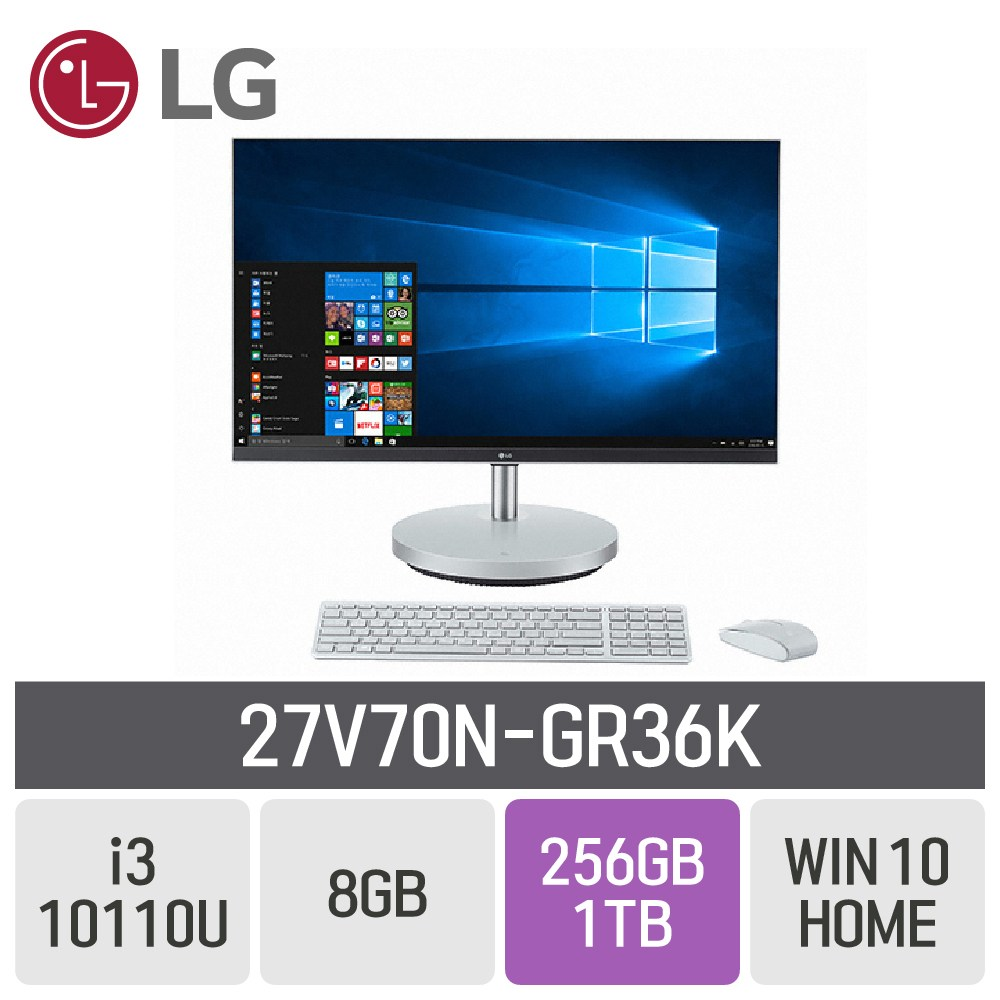 LG 일체형PC 27인치 27V70N-GR36, RAM 8GB + SSD 256GB + HDD 1TB + WIN10HOME, 27V70N-GR36K