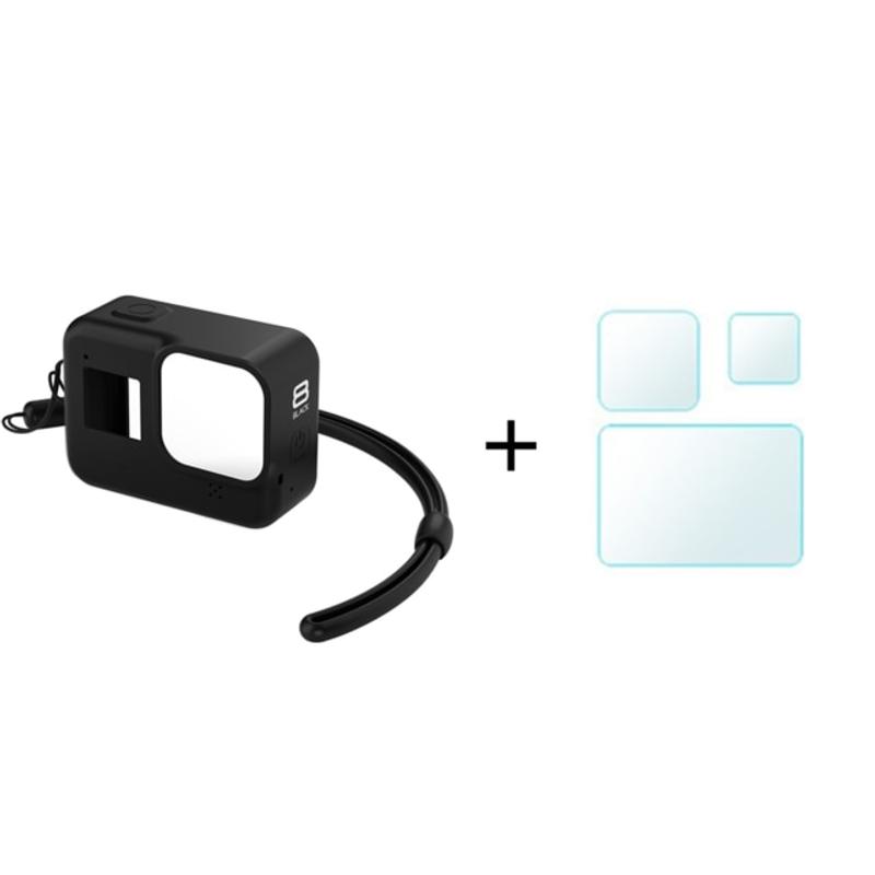 GoPro Hero 8 용 보호 실리콘 케이스 Go Pro 8 액세서리 용 검은 색 강화 유리 화면 보호 필름 렌즈 캡 커버, GMA-011