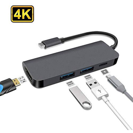 USB C Hub Dxmart 4-in-1 USB C 어뎁터 with 4K USB C to HDMI USB 3.0 and 2.0 포트 for 맥북 프로 MaCb, One Color