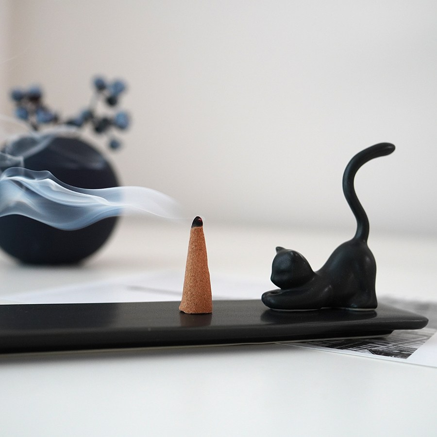 도자기 고양이 인센스홀더 향꽂이 (3가지색상), 블랙
