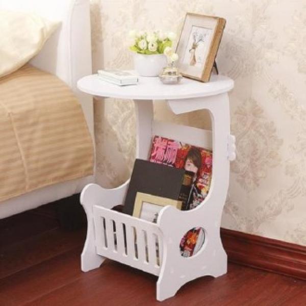 QMZ714806협탁 잡지꽂이 미니 유럽풍 거실 원형 침대 테이블, 단일색상