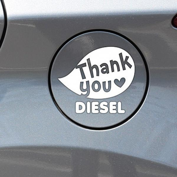 세연상사 땡큐말풍선 디젤 자동차 주유구스티커-화이트 차량용 스티커, 색상본상품선택
