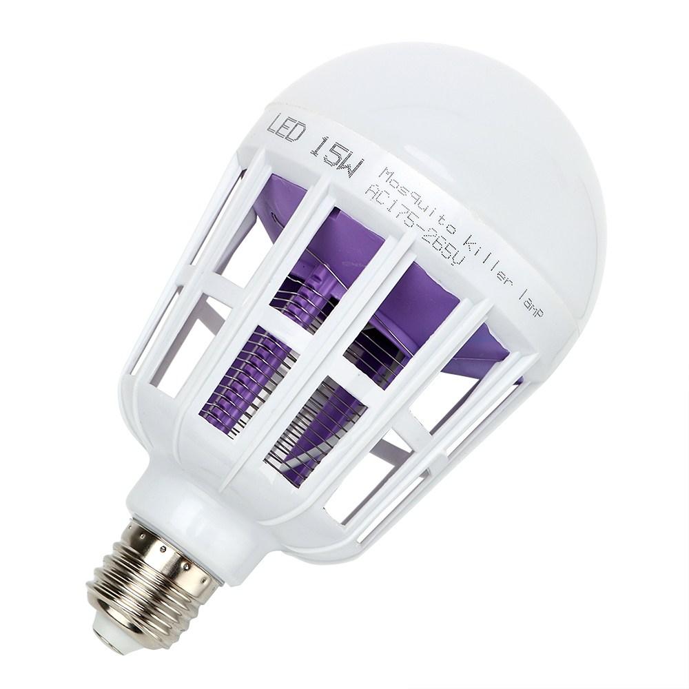 Itimo 모기 킬러 램프 e27 15 w 220 v led 버그 재퍼 벌브 2 모드 사일런트 킬링 플라이 버그 곤충 벌레 uv 전기 트랩, 1개, 단일