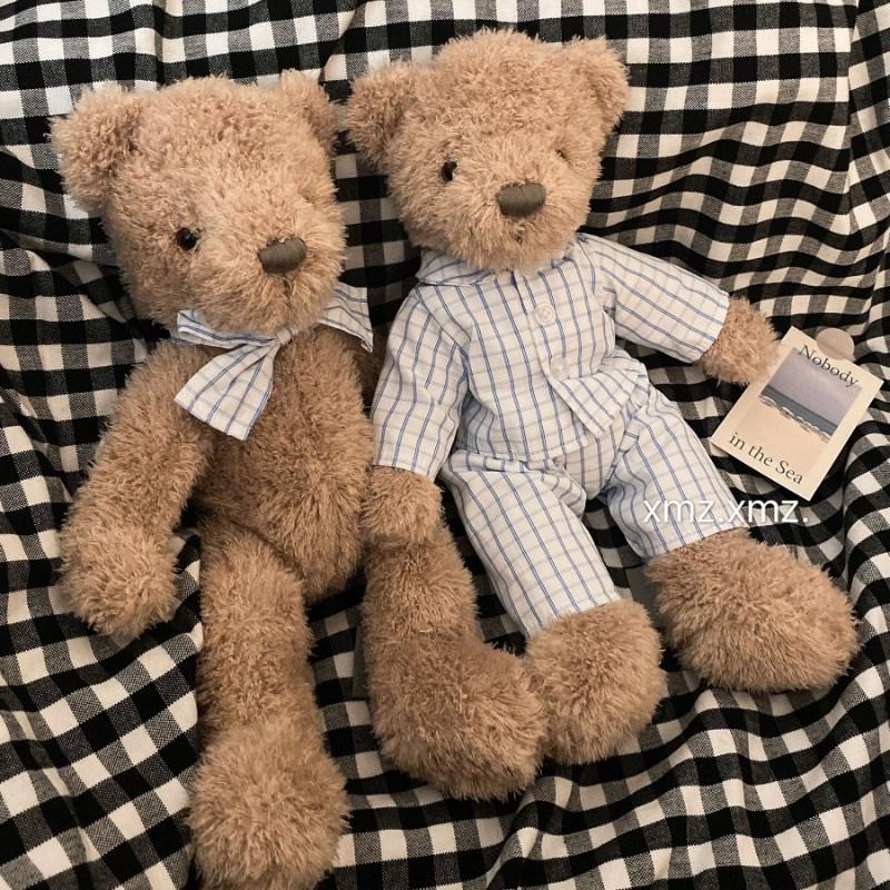 곰인형 잠옷 뽀글이 곰돌이 동물인형 테디베어 수면인형 애착인형 아이 촬영용 소품 봉제인형 크리스마스선물, 파자마곰-인형, 높이 20cmcm