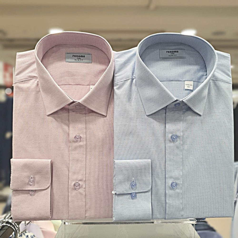 레노마 셔츠 핑크 면 혼방 은은한 올오버 도비 슬림핏 셔츠RKSSLP-974-PU