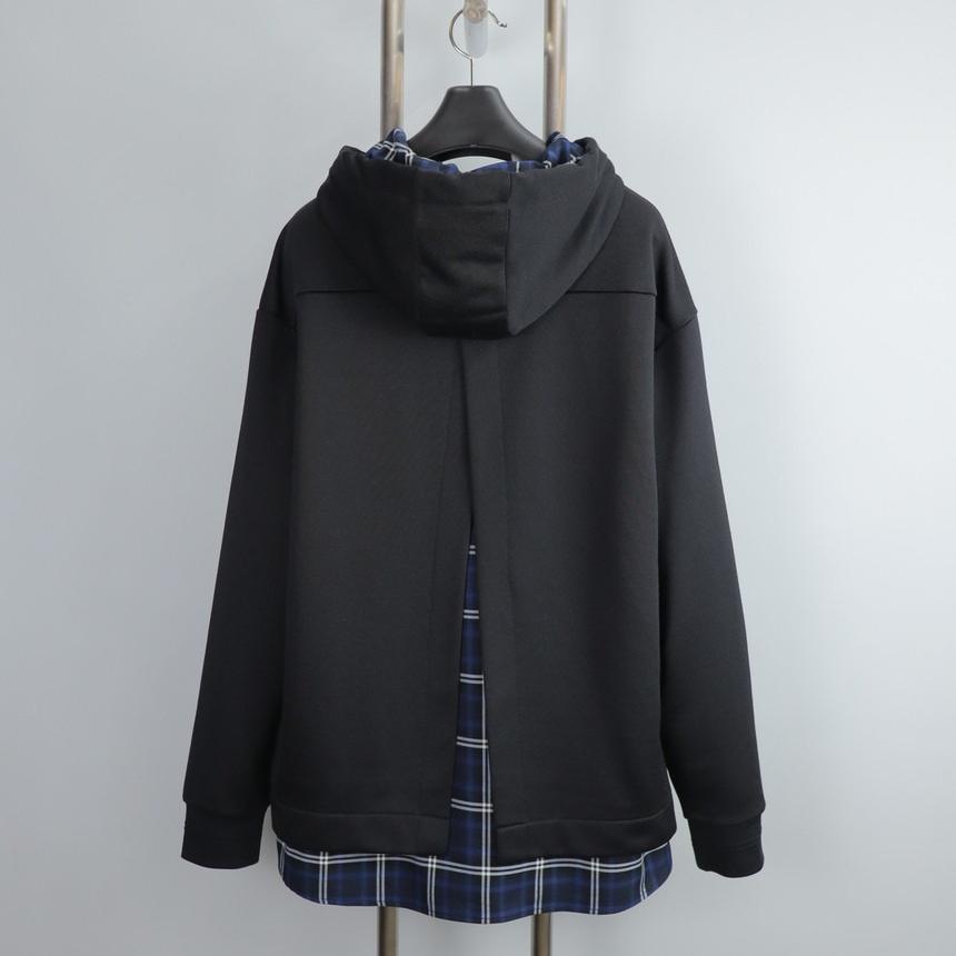 지오송지오 ZUW41533 블랙 체크 레이어드 후드 티셔츠