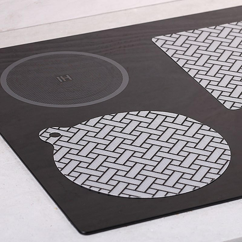 굿홈 인덕션 보호 매트 보호용 커버 패드 시트 깔판 사각 냄비 에어프라이어 받침 세트, 라탄-원형3
