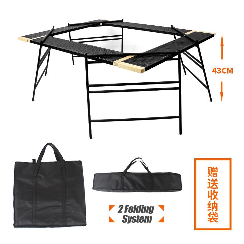 야외바베큐 캠핑 육각 화로 테이블 숯불선반, 단품-6-1638354866