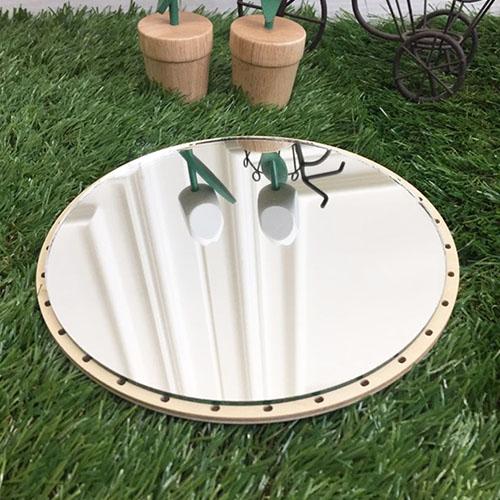 라탄공예재료 자작나무 원형 거울만들기 합판+거울 세트 20cm