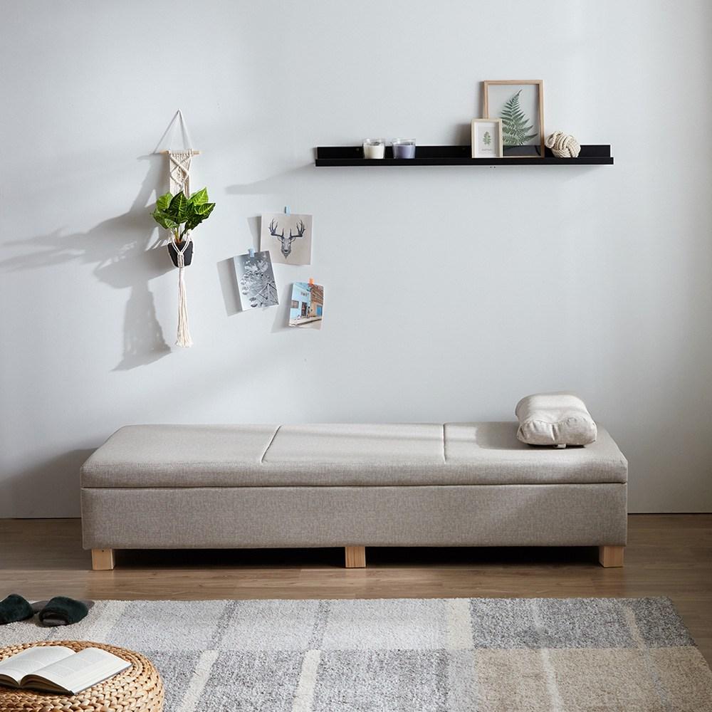 크렌시아 베개증정+소파와 침대를 한번에! 수납형 벤치 스토리지 소파베드, 라이트그레이