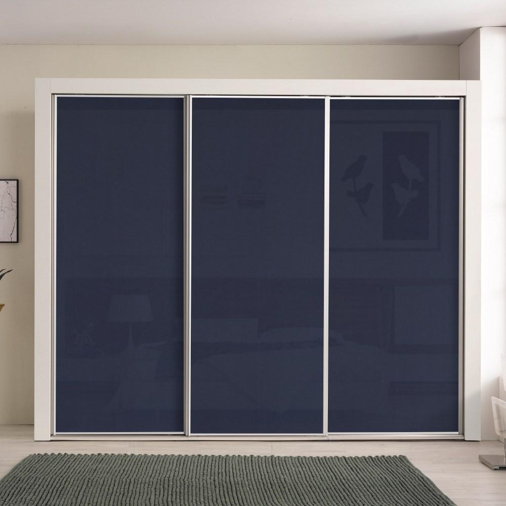 대도갤러리 키높이 클래시 하이그로시 9자 슬라이딩옷장, 블루