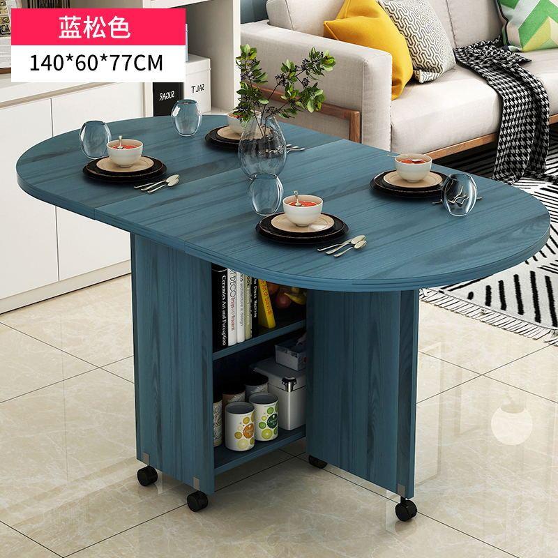 원형 접이식 조립식 식탁 이동식 바퀴 1인 원룸 자취 식탁 수납 테이블, Lansong 140 단일 테이블 반원