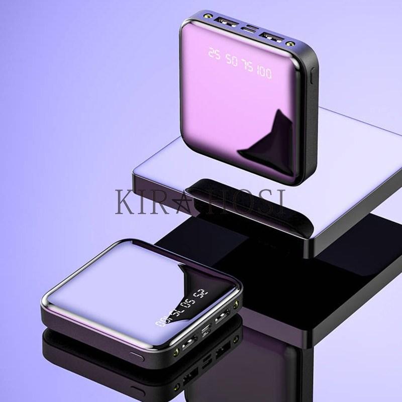 kirahosi 보조배터리 고속충전 미니 소형 휴대용 28호+덧신증정, 블랙, 20000mAh