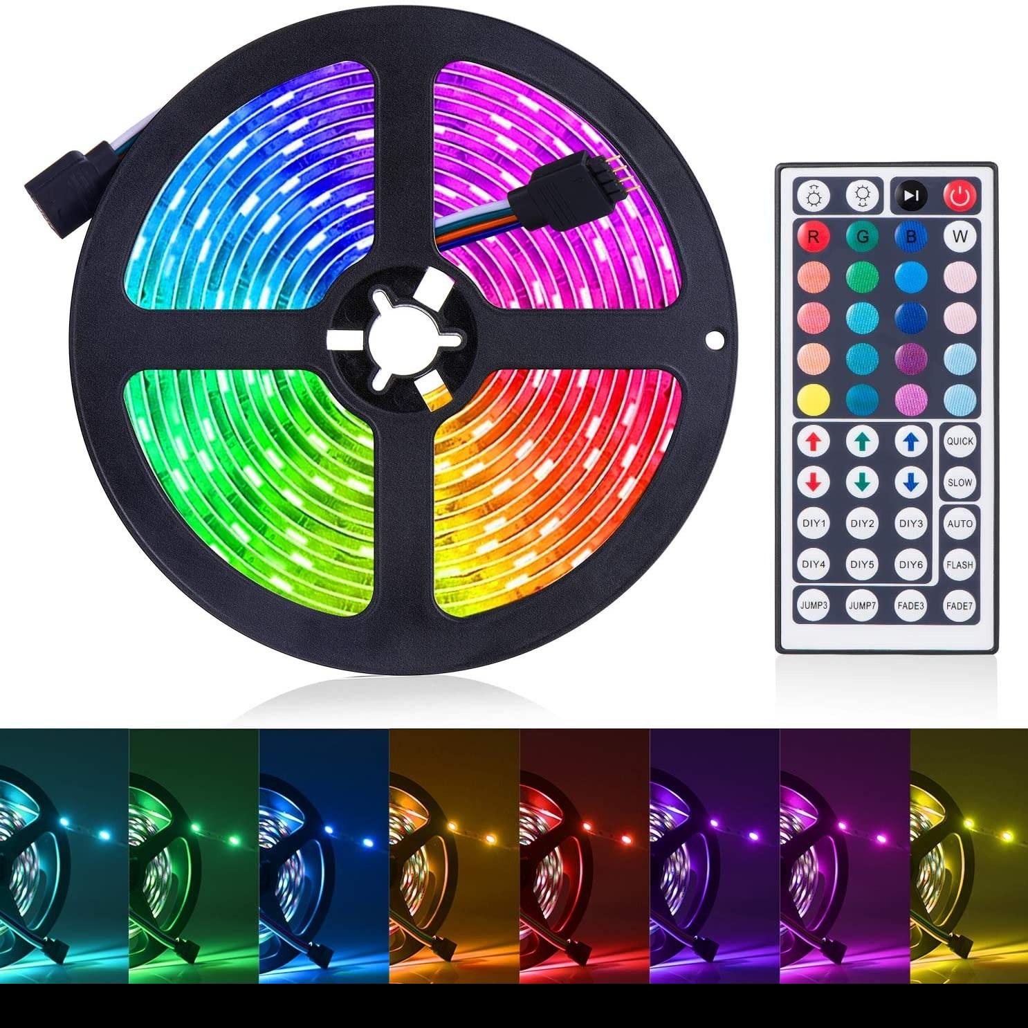 SUNNEST LED 스트립 조명 16.4f RGB 라이트 5050 테이프 홈 주방 침대 원격 로프 바 카 장식