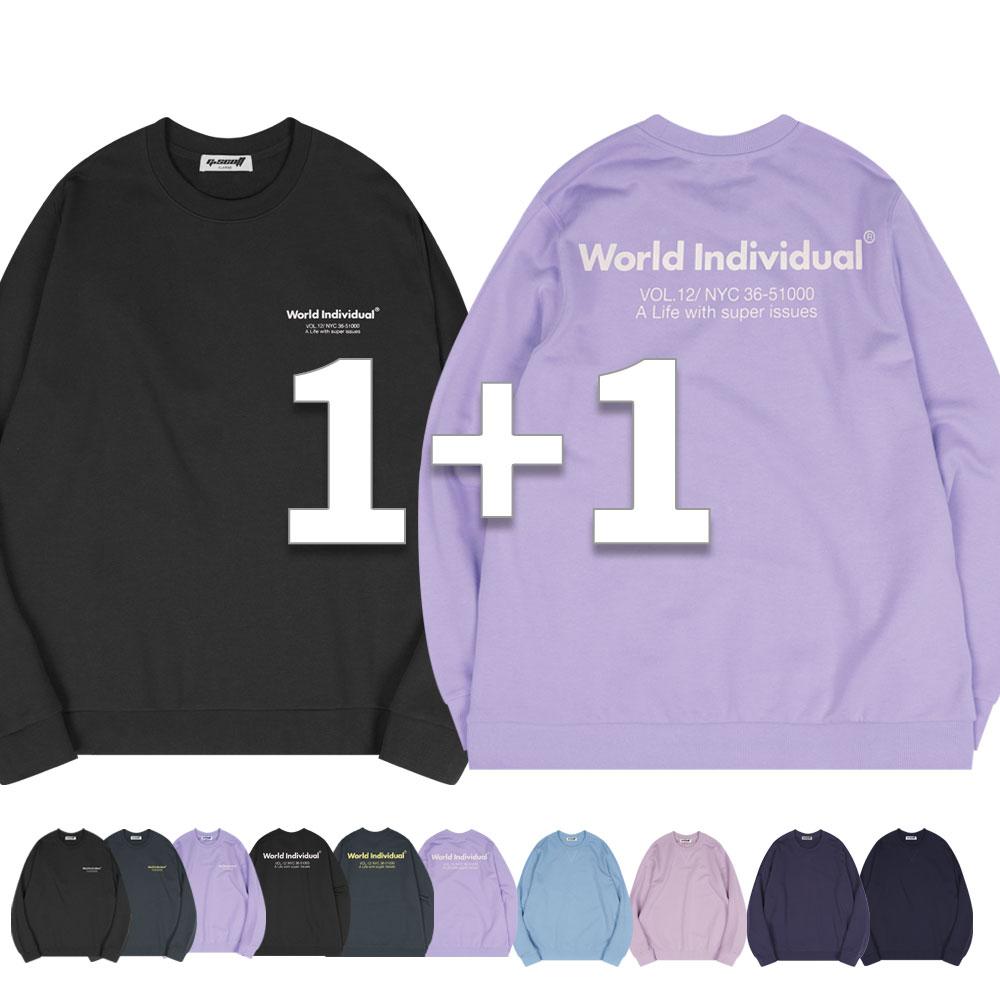 지스캇 남여공용 프린트 맨투맨 1+1 테리 세미 오버핏 티셔츠