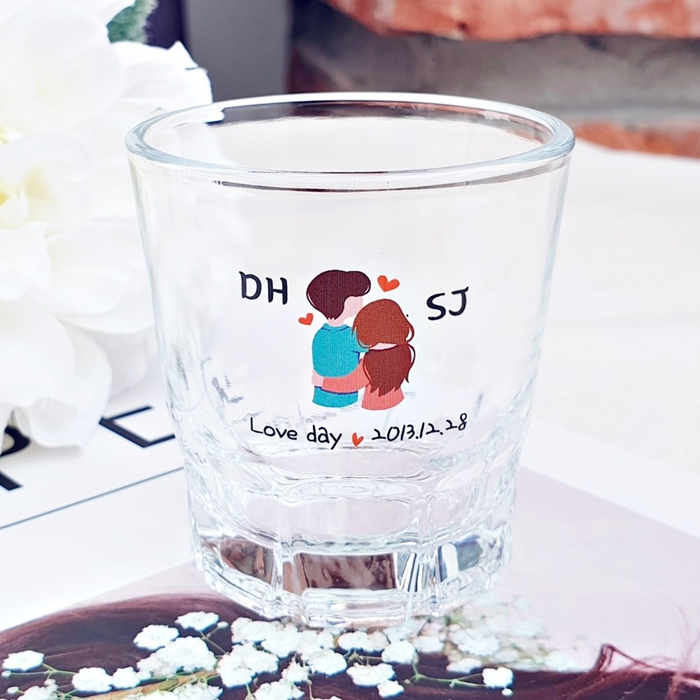 [인생술잔] 주문제작 컬러 소주잔 메세지 로고 각인 소량제작 개별맞춤 인싸템, 1개, 23.커플(우리B)