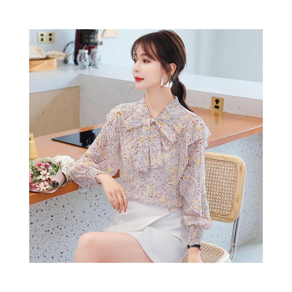 알지구 썸머 블라우스 실제 샷 2020 가을 새로운 작은 신선한 쉬폰 셔츠 달콤한 꽃 프릴 얇은 서양식 긴팔 여성
