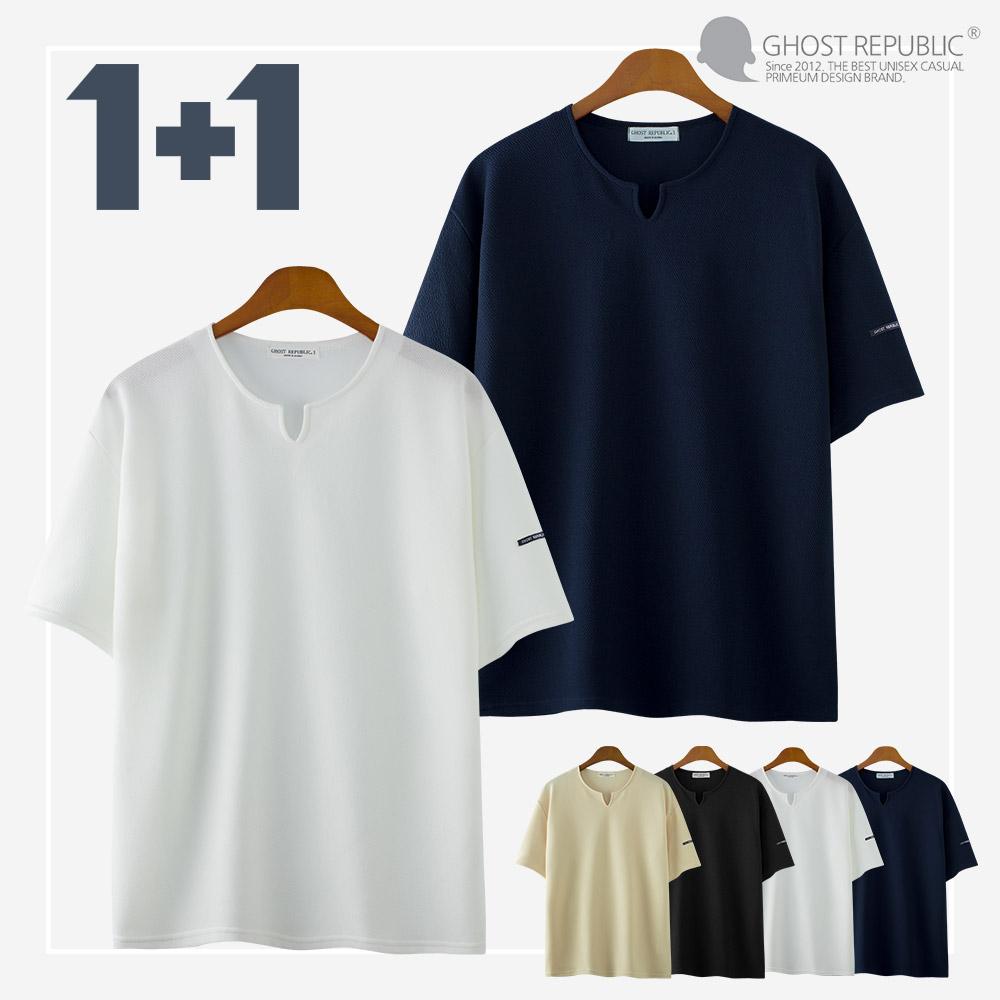 고스트리퍼블릭 리버플 앞 트임 오버핏 반팔티셔츠 GT-3150 1+1 반팔 티셔츠