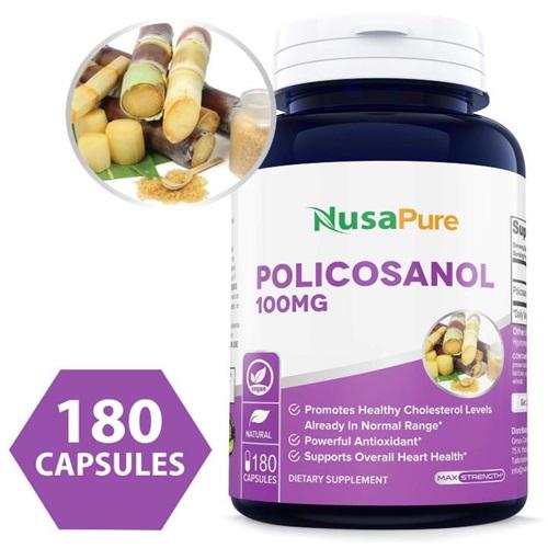 NusaPure 미국직배송 폴리코사놀 50mg 사탕수수추출물 180캡슐 정품, 1병