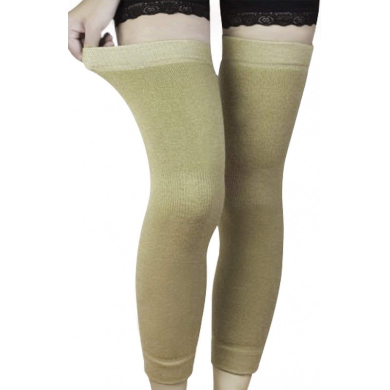 무릎 패드 한 쌍의 탄성 캐시미어 니트 무릎 소매 교정기 미끄럼 열 무릎 다리 소매 지원 보호 허벅지 송, 단일상품