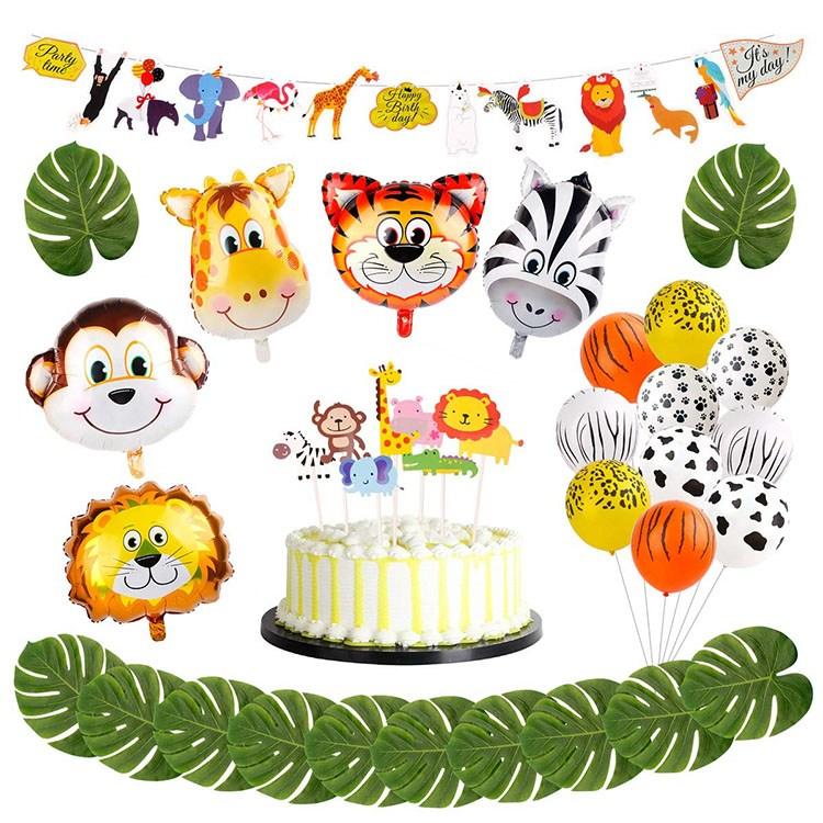 미스터스카이블루 어린이 동물농장 생일파티 홈파티 풍선세트 동물풍선 가랜드 케익토퍼 포함, 동물농장세트