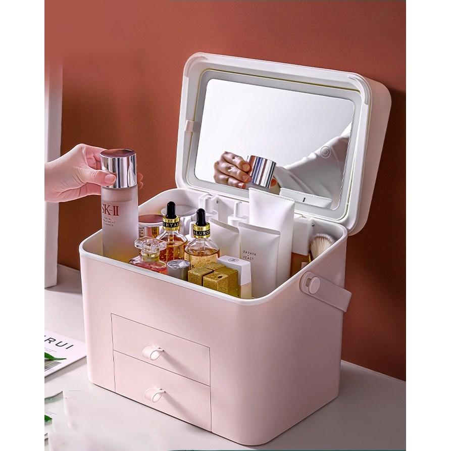 먼지차단 뚜껑있는 스마트 화장품 정리대 정리함 보관함 대용량, 화이트, 30x24.5cm (POP 5080200696)