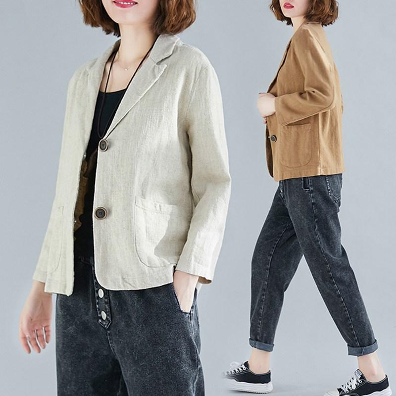 히또리 M~2XL 모카치노 여름에 입기 좋은 린넨 테일러드 자켓