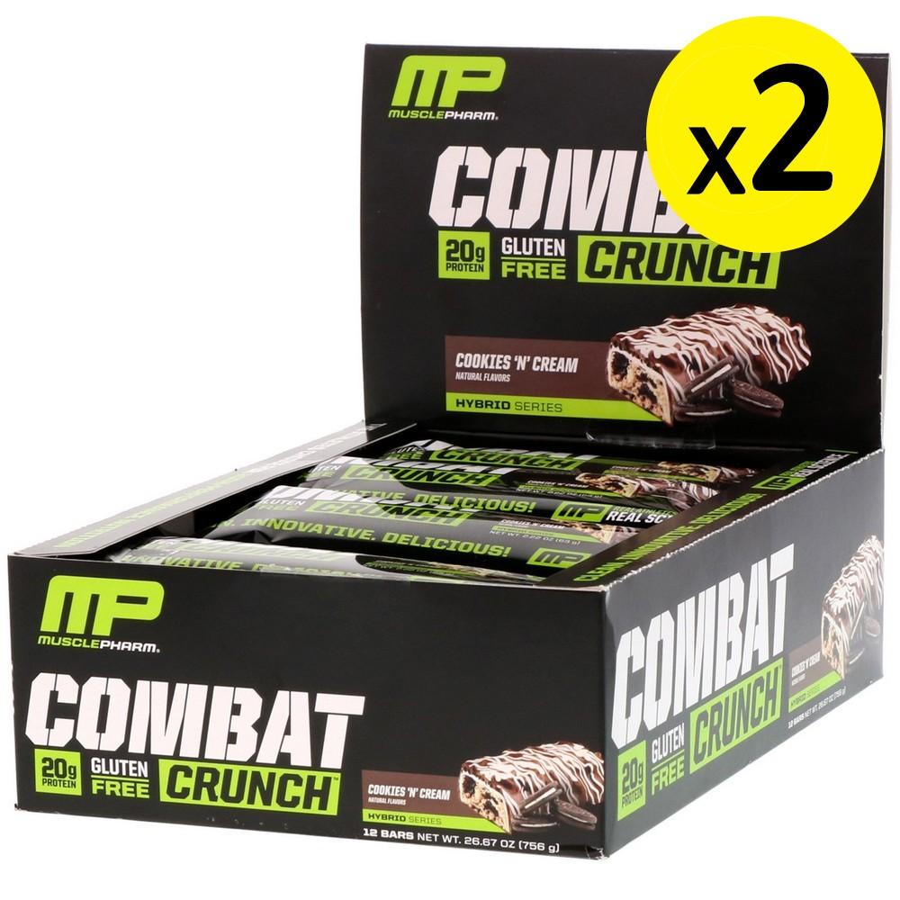 [미국직구]MusclePharm 컴배트 크런치(Combat Crunc) 쿠키앤 크림(Cookies N Cream) 12 개입 각 2.22oz (63g) 2개, 선택, 상세설명참조