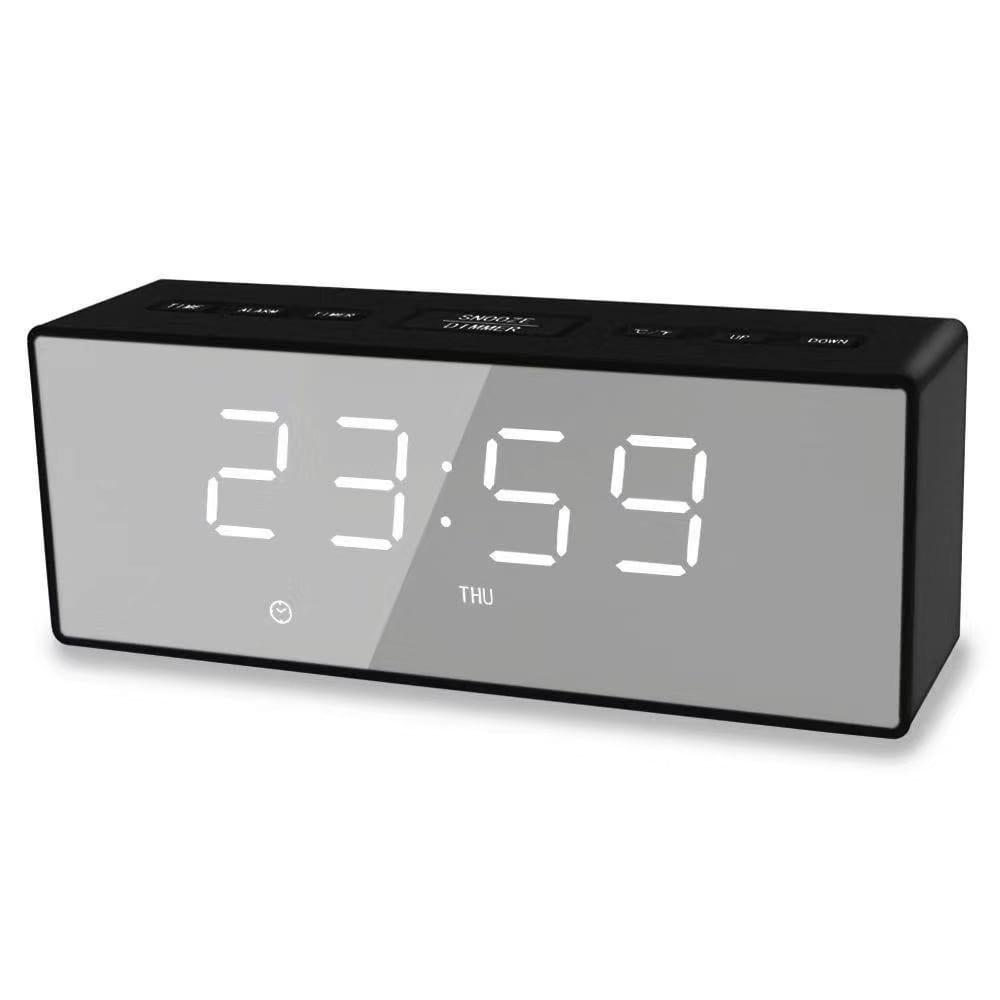 위파인더 새로운 거울 시계 LED 미러 전자 알람 다기능 SUB 디지털 시계 카운트다운 알람 충전 시계, 화이트 라이트 블랙 쉘