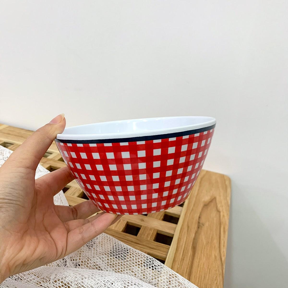 멜라민 체크 플레이트 볼 6종 요거트 보울 홈까페 빈티지 접시 안깨지는 감성 캠핑 그릇, 붉은 격자 그릇