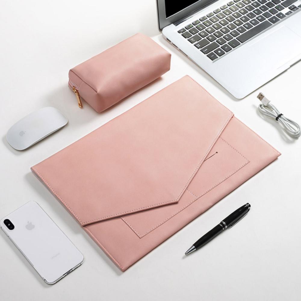 lg그램 맥북 삼성 갤럭시탭 애플 노트북 파우치 가방 케이스 PU 가죽 14인치 15인치 17인치, 핑크