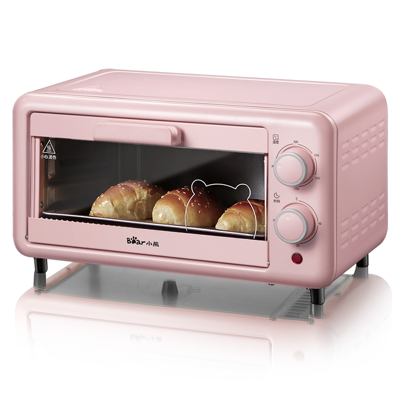 Bear 미니전기오븐 가정용베이킹 작은 오븐 온도 조절 9 리터 11 미니, 11 리터 오븐 (핑크) +