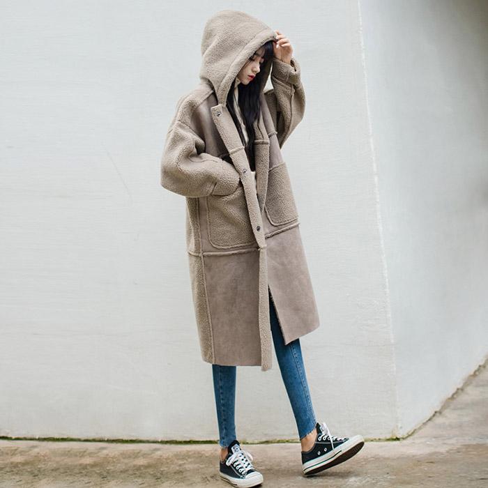 대박난박양 양털 후드 무스탕 코트