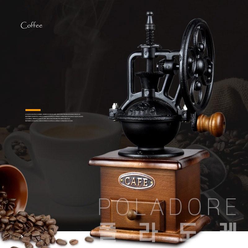 폴라도레 가정용 수동 커피그라인더 핸드밀 원두분쇄기 +(L), CC-0016➸04-커피