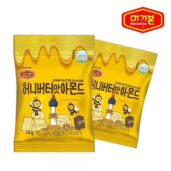 머거본 허니버터 아몬드 14g X 25봉, 1
